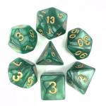 Dés – Set de dés (vert nacré et or)