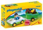 Playmobil 1 2 3 – Cavalière avec voiture et remorque – 70181